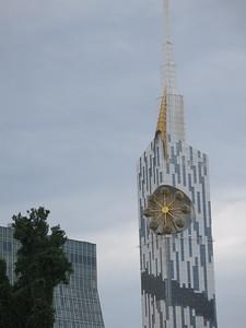 A Ferris wheel on a building