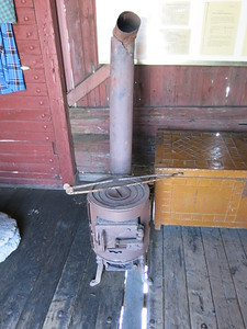 Stove inside one of the train wagons