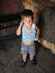Inghusetian boy inside one of the train wagons.