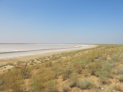 Salt lake on the road to Astrakhan
