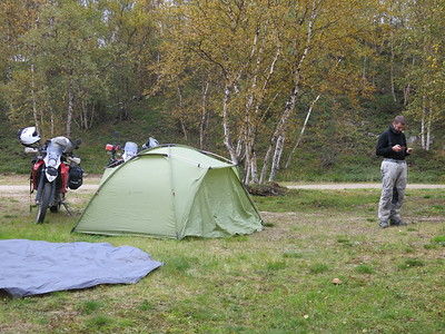 Our camp spot near the Norwegian border