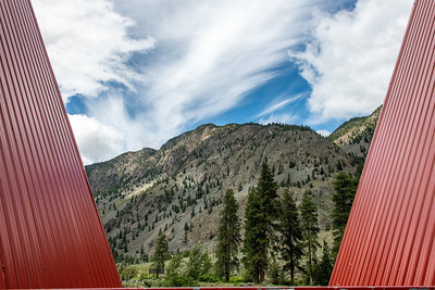 Keremeos Red Bridge over Similkameen River, passing through.