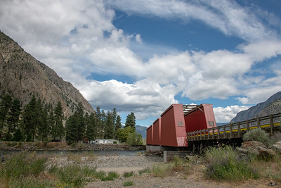 Keremeos Red Bridge over Similkameen River-sole survivor of 5 bridges crossing at one time. Last train crossing 1954.