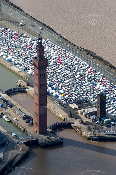 Grimsby Dock Tower from the air.