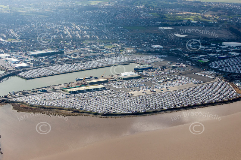 Car storage area in Grimsby from the air.