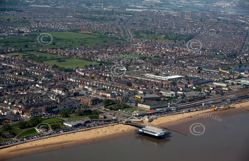 Cleethorpes pier aerial photo.