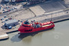 The Windfarm service vessel, Esvagt Fraude Grimsby from the air.