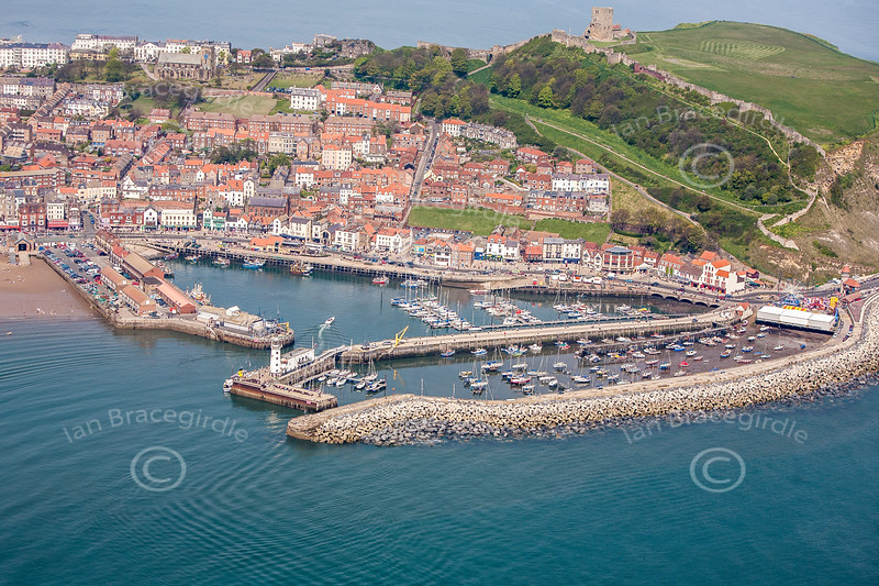 Scarborough Harbour from the air.