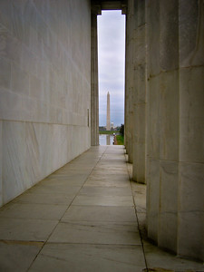 Washington Monuments in the distance, taken from the Lincoln Memorial
