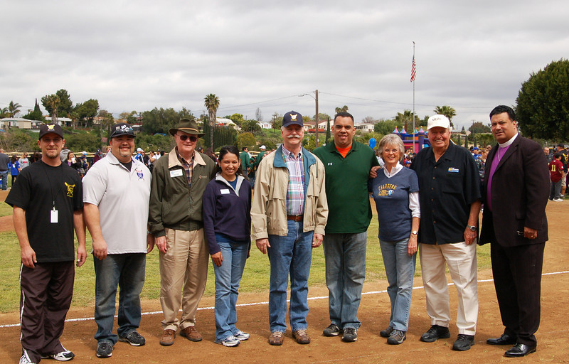 Steve Wechlser, David Doane, Chuck Muse, Noemi Flores, Roger Roberts, Gus Lopez, Dianne Jacob, Chuck Hansen and Bishop Blair Holloway at Lemon Grove LIttle League Opening Day Ceremonies East County San Diego
