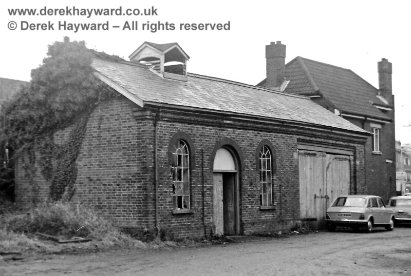 The rear (railway) side of the goods building that fronted on to East Grinstead High Street, photographed by Eric Kemp on 20 December 1975.  Freight facilities had been withdrawn from 10 April 1967.  Eric Kemp retains all rights to this image.