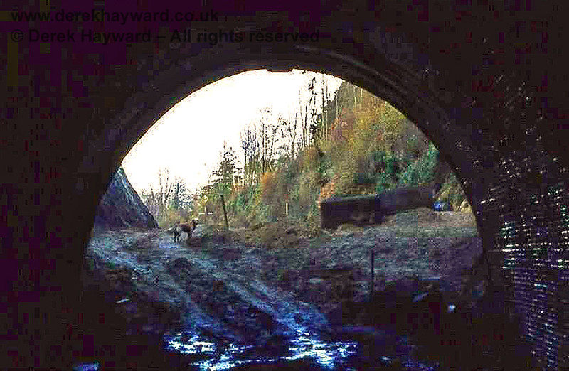 """East Grinstead No 1 tunnel (the one nearest to East Grinstead and 78 yards long) looking west out of the western portal (towards East Grinstead town). This tunnel was completely opened up and dug out during the construction of """"Beeching Way"""", the road that replaced the railway in this area. A bridge replaced it, to carry College Lane over Beeching Way, and no trace of the tunnel remains.    Image from the collection of the late Steve Blaikie.  Do you own this picture?  If so, please contact me."""