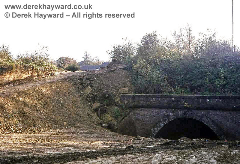 """East Grinstead No 2 tunnel (the one furthest from East Grinstead and 48 yards long) pictured during the construction of """"Beeching Way"""" the road which replaced the railway in this area.  There is no trace of the tunnel at ground level. It is buried under the junction of the A22 and B2110.  Image from the collection of the late Steve Blaikie.  Do you own this picture?  If so, please contact me."""