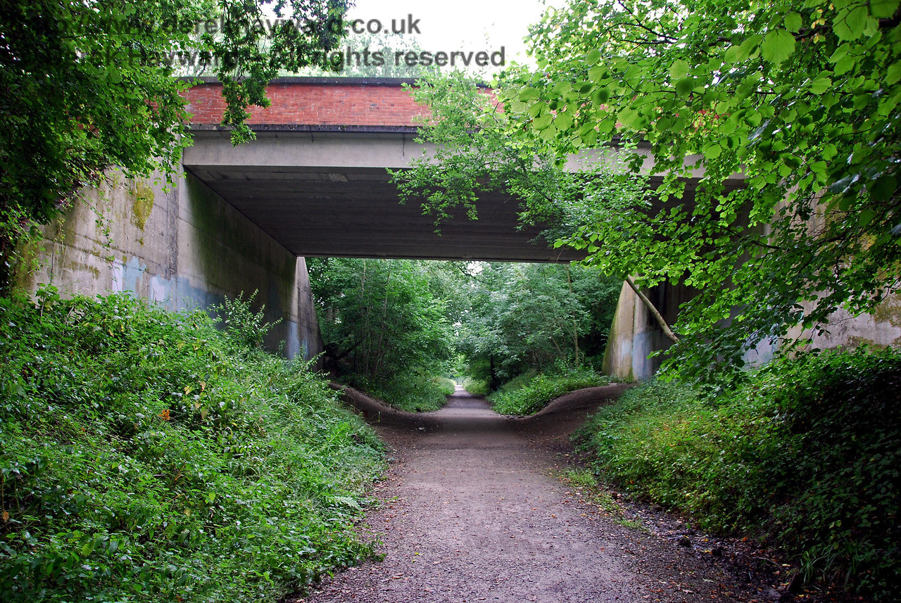 Garden Wood Road Bridge looking east. It can be seen that the railway had a relatively steep climb into East Grinstead. This bridge suffers badly from graffiti, but it has been edited from the picture. 07.08.2009