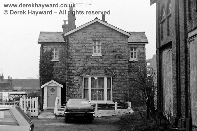 Looking west at the 1855 station house at East Grinstead, photographed by Eric Kemp on 20 December 1975.   Eric Kemp retains all rights to this image.