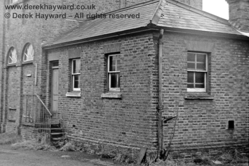 The office at the eastern end of East Grinstead good shed, photographed by Eric Kemp on 20 December 1975.  Freight facilities were withdrawn from 10 April 1967 and the building was demolished in 1976, soon after the picture was taken. Eric Kemp retains all rights to this image.