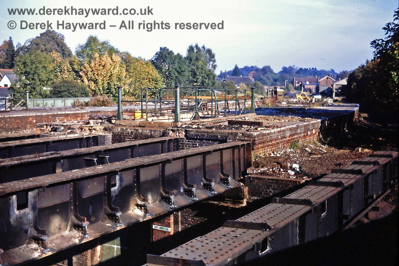 Looking east in the direction of Forest Row, these are the bridge girders that carried the high level line over the Low Level station platforms and the Low Level track. The remains of the High Level platforms can also be seen. Photographed on Saturday 17 October 1970 by Eric Kemp, the girders were subsequently removed overnight. Eric Kemp retains all right to this image.