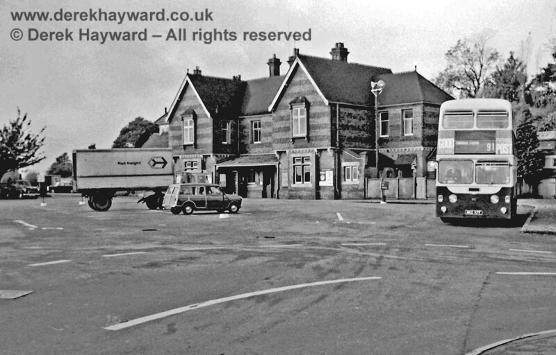 East Grinstead Station Building and forecourt adjacent to the Low Level platforms, photographed in November 1968 by Eric Kemp , who retains all rights to this image.