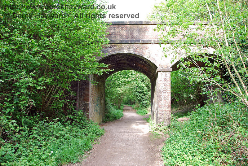 Ashdown House Bridge looking east towards Hartfield Station (which is a long way away). The bridges were constructed for double track (via individual arches) but only a single track was ever provided.09.05.2009