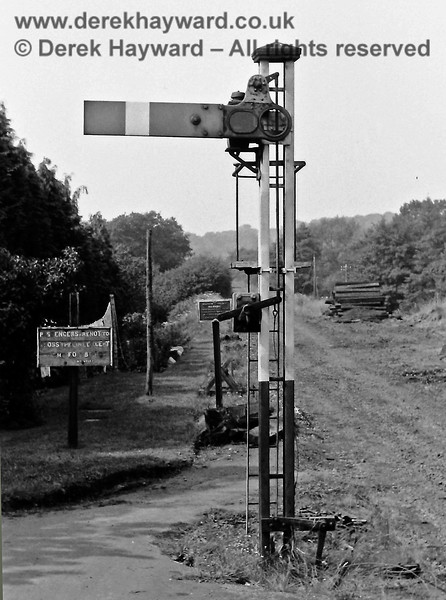 A lonely looking westbound starting signal at Forest Row on 23 August 1968. Eric Kemp retains all rights to this image.
