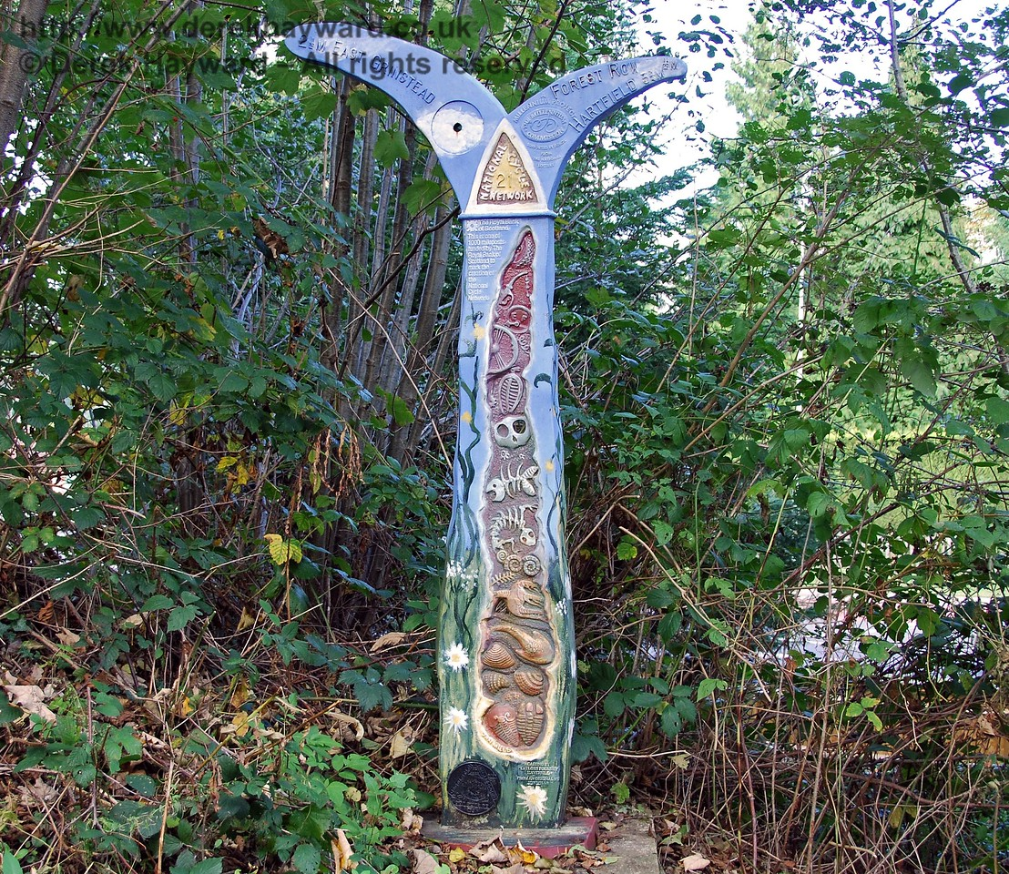 One of the ornate signposts that are situated at intervals along the path.  This one is on the western side of the A22 road crossing. 18.10.2009