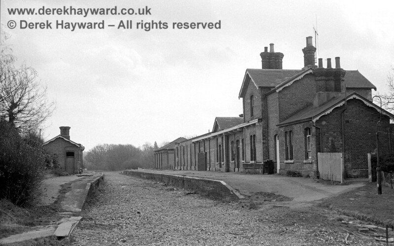 I am grateful to John Clark for supplying this excellent image of Forest Row station, looking east, taken on 20 April 1969. Forest Row was closed to passengers on 2 January 1967, goods traffic having ceased on 7 November 1966.  John Clark retains all rights to this image.