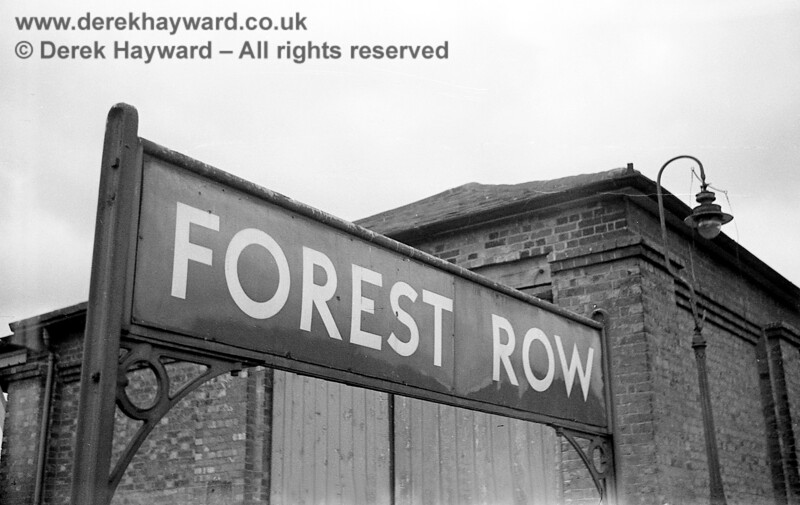 The running-in board at Forest Row station photographed on 20 April 1965 by John Attfield who retains all rights to this image.