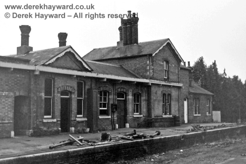 The westbound platform and station building at Forest Row, pictured on 2 November 1968 by Eric Kemp, who retains all rights to this image.