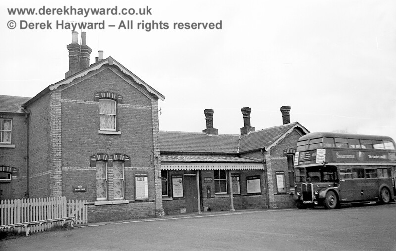 John Attfield has kindly contributed some historical photos to this gallery. The forecourt on the south side of Forest Row station photographed on 20 April 1965, before the station closed.  The bus is RT3133, registration KXW242, and is heading for West Croydon on Route 409.  John Attfield retains all rights to this image.