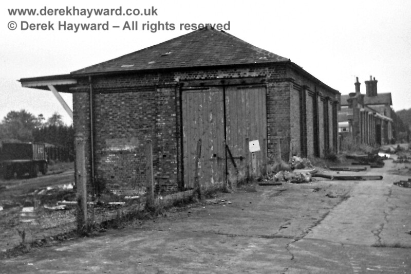 The goods shed on the southern side of Forest Row station, pictured on 2 November 1968 by Eric Kemp, who retains all rights to this image.