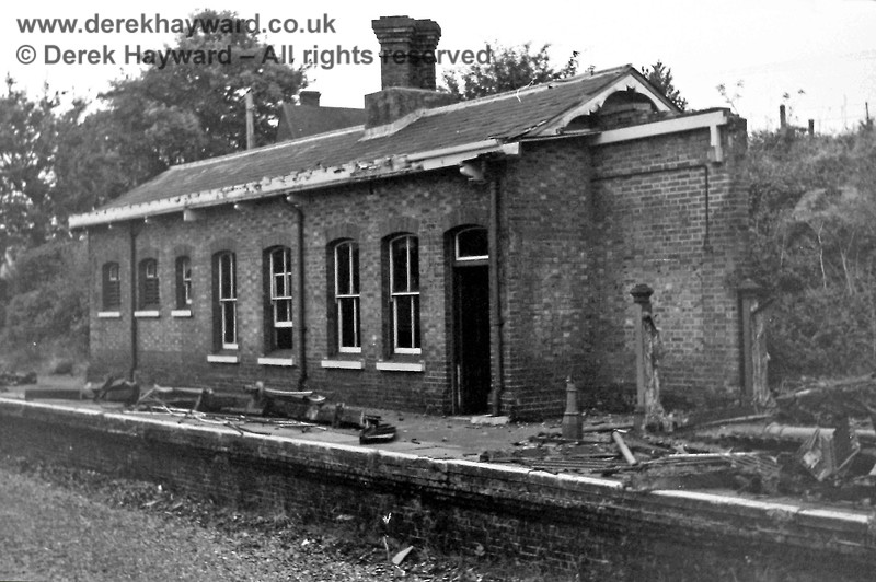 The eastbound platform and station building at Forest Row, pictured on 2 November 1968 by Eric Kemp, who retains all rights to this image.