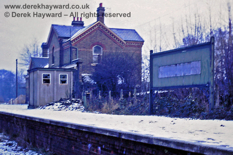 Just over a year later and Eric Kemp provides a very similar view of Grange Road station on 31 December 1968.  The hut has broken windows and the area looks rather sad.  Eric Kemp retains all rights to this image and I am grateful to him for allowing me to use his photos.