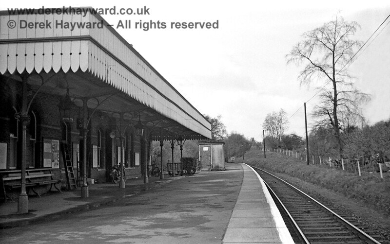 Looking west along the platform at Grange Road station on 20 April 1965, when the line was still open.  The cycle racks are not very busy.  John Attfield retains all rights to this image.
