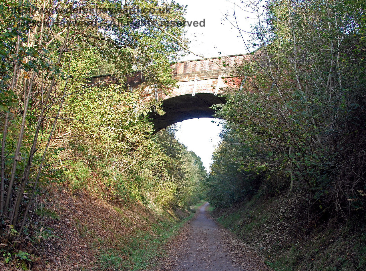 The B2028 bridge looking east.  The railway gradient at this point was quite steep. 18.10.2009