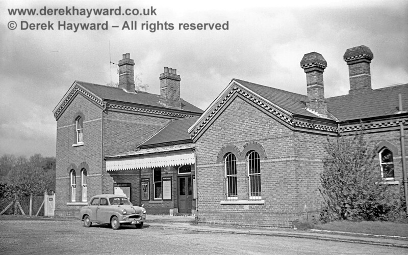 A rare image of the (rather quiet) forecourt of Grange Road station, pictured on 20 April 1965, when the line was still open.  The car is MUS92 and is a May 1954 Standard 8, way off territory with a Glasgow registration (fortunately Nick Mander knows more about cars than I do).    John Attfield retains all rights to this image.
