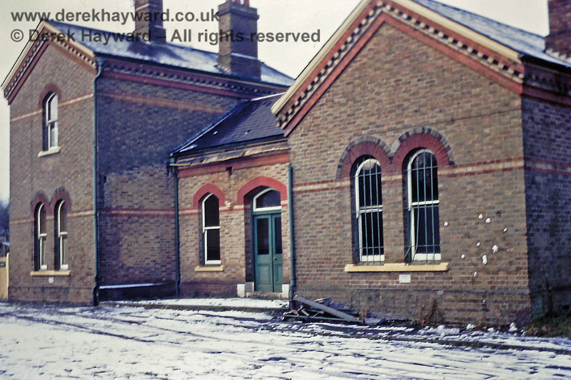 Quite a rare view of the forecourt of Grange Road station taken on  31 December 1968.  The bars on the nearest window have been bent upwards, suggesting that someone might have tried to get in.  Eric Kemp retains all rights to this image.