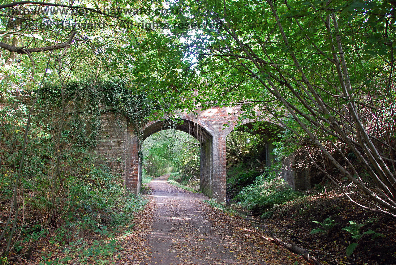 West of Hartfield Station a two arch bridge takes a public bridleway across the railway.  The vast majority of bridges on the line were built with at least two arches, suggesting that the engineers might have been allowing for a subsequent conversion to double track.  This, of course never happened. This view looks west. 18.10.2009