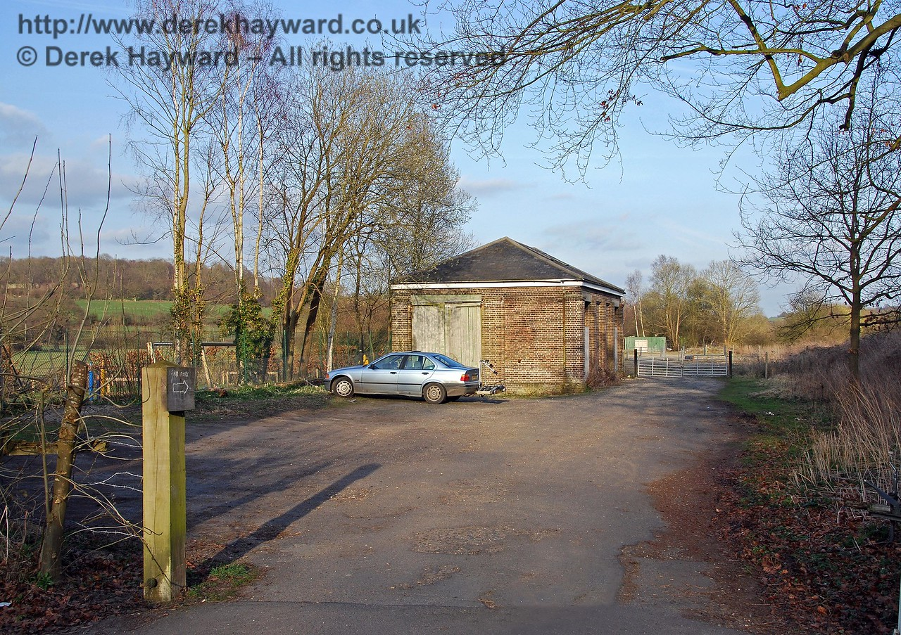 The entrance to Hartfield Station goods yard, looking east.  This area has subsequently been redeveloped for housing, and looks very different.  At least the photographs preserve the scene. 22.03.2009