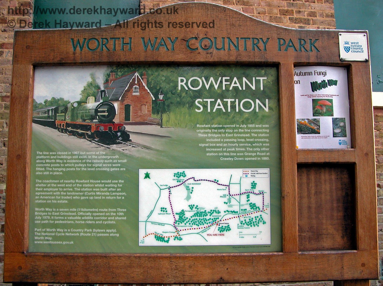 An explanatory sign erected at Rowfant Station referring to Worth Way Country Park. 14.11.2005
