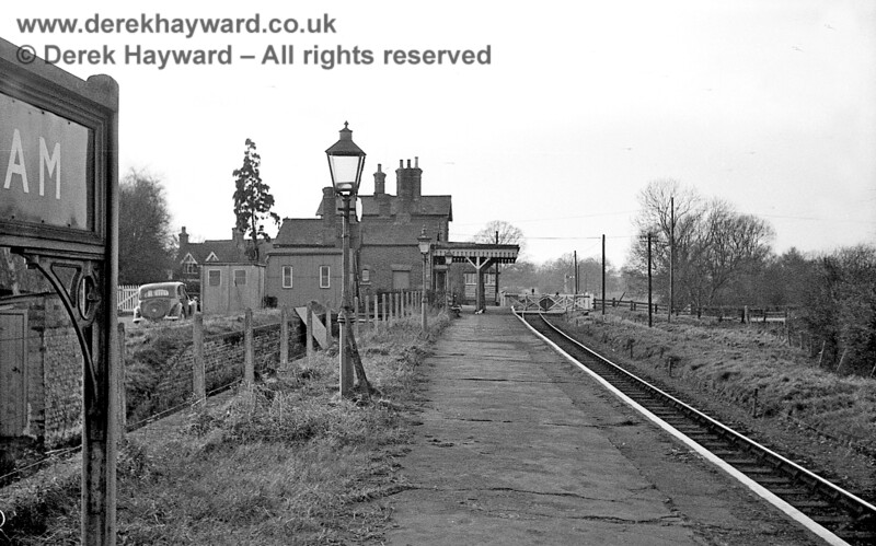 I am grateful to John Attfield for allowing me to use some of his images in this gallery.  Withyham Station looking west from a position near the goods dock on 6 January 1966.  The level crossing gates remain open to road traffic and an eastbound Home signal can just be seen in the distance.  The adjacent signal box is now preserved on the Bluebell Railway.  John Attfield retains all rights to this image.