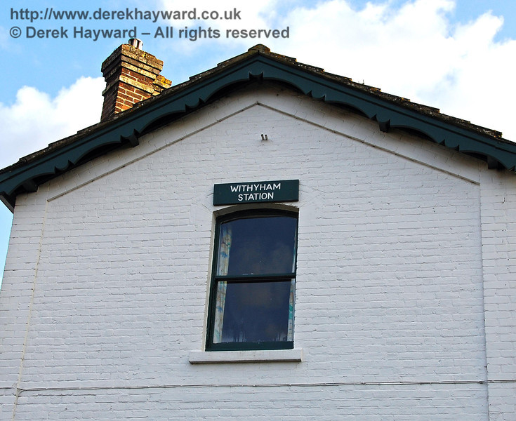 A Withyham Station sign above the original casement window on the station house. 02.03.2009