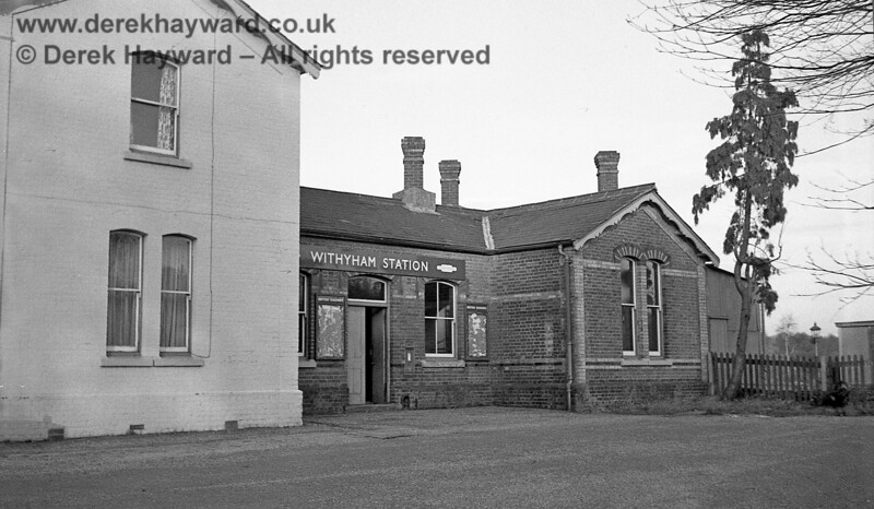 The deserted forecourt of Withyham Station pictured on 6 January 1966.  As can be seen the Station Master's house had by then been painted white.  John Attfield retains all rights to this image.
