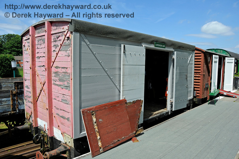 LNWR 12T Box Van, No. RNAD 293, built by the LSWR in 1917.  Currently in use as a Carpenter's Workshop at Eythorne Station, East Kent Railway. Beyond it is 12T Box Van No. B776691 built at Ashford in 1957.  Toilets have been installed in this wagon as an innovative way of providing facilities at the station.  17.06.2015  12782