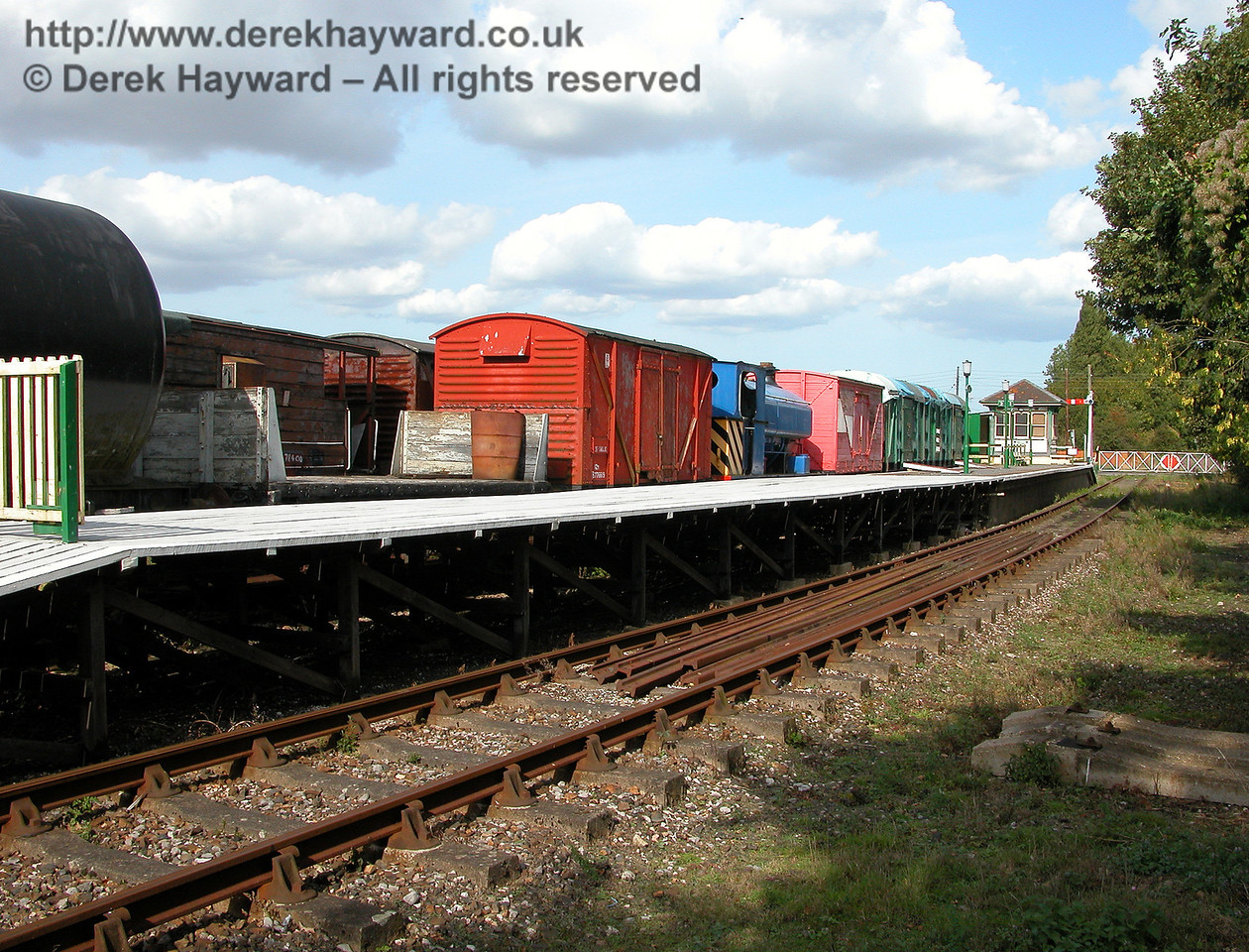 A 2006 view of Eythorne Station looking east, with the goods sidings in the background. 19.09.2006