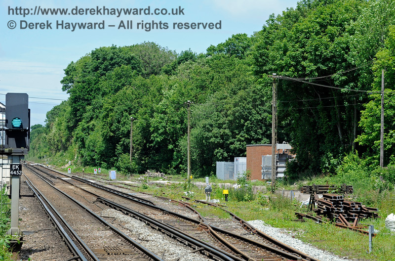 A further view of the sidings north of Shepherds Well (or Shepherdswell) Station, Network Rail. 17.06.2015  11379