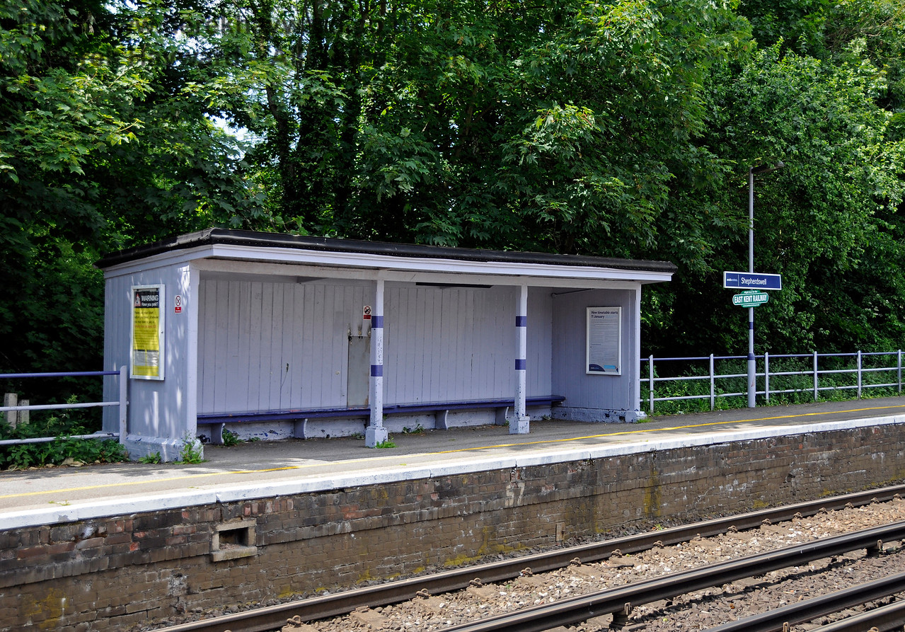 Shepherds Well (or Shepherdswell) Station, Network Rail, looking across to the waiting facilities on Platform 1 (northbound). 17.06.2015  12777