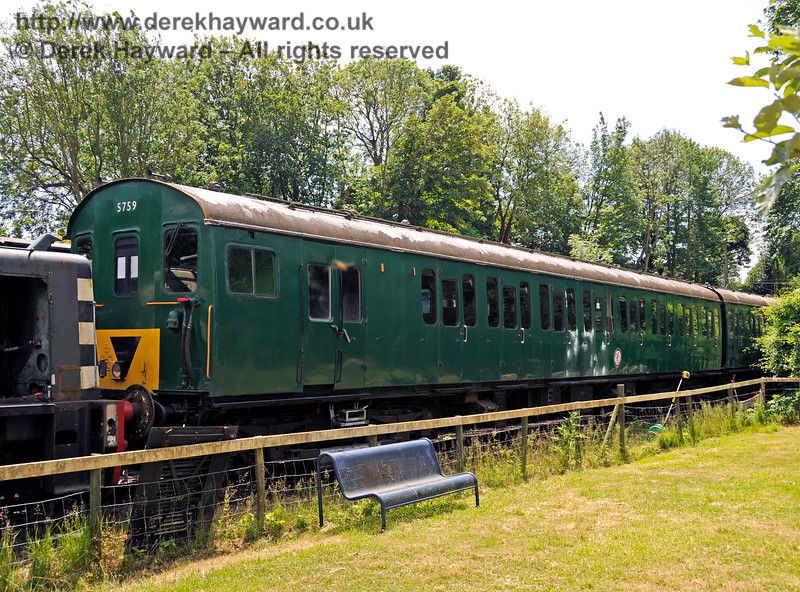 BR 2-EPB Unit No.5759 (coaches S65373 and S77558).  This unit is owned by the EPB Preservation Group.  Shepherdswell Station, East Kent Railway. 17.06.2015  12758