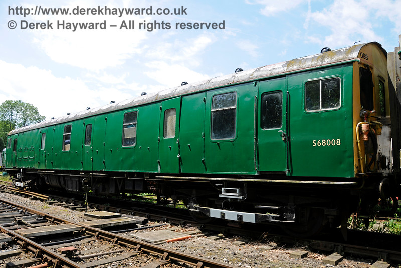 Motor Luggage Van (MLV) S68008.  This coach is owned by the EPB Preservation Group.  Shepherdswell Station, East Kent Railway. 17.06.2015  12739