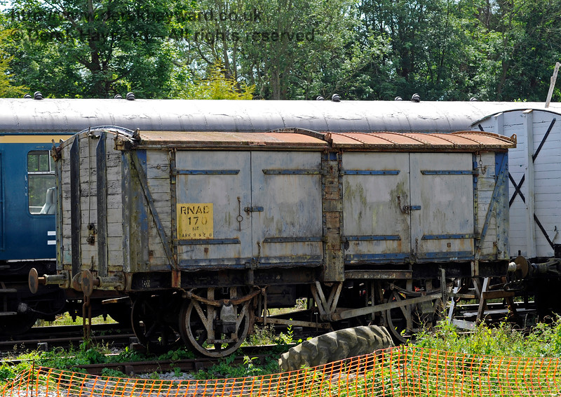10T 4-door Ammunition Wagon built by C Roberts of Wakefield and carrying the number RNAD 170.  This wagon has a sliding roof for the loading of ammunition and is privately owned.  Shepherdswell Station, East Kent Railway. 17.06.2015  11372