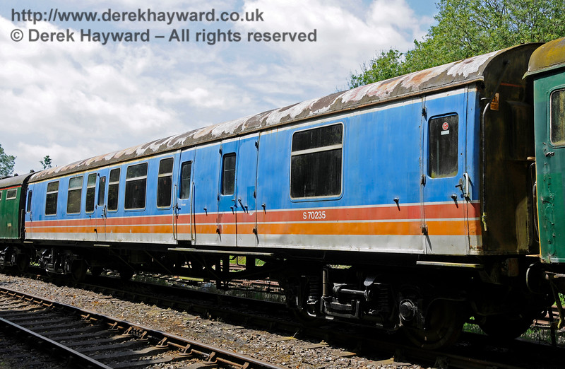 Coach S70235 from BR 4-CEP unit 7105.  This coach is owned by the EPB Preservation Group.  Shepherdswell Station, East Kent Railway.  17.06.2015  12742